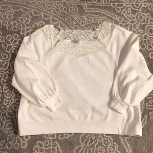 H&M Lace off-the-shoulder Sweater in white